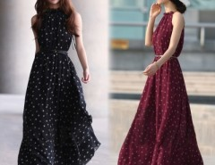 Women's Elegant Chiffon Dot Vest Maxi Full Long Dress Sleeveless With Belt Cndirect online fashion store China