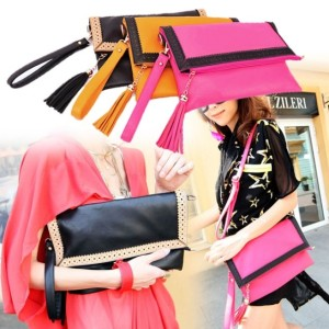 Women's Fashion Hollow Out Lace Tassel PU Leather Envelope Handbag Tote Bag Shoulder Bag Cndirect online fashion store China