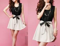 Women's Fashion Korea StyleSleeveless Elastic Waist Dress Color Block Mini Dress With Belt Cndirect online fashion store China