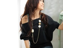 Women's Girls Trendy OFF-Shoulder Cotton Blends Top T-Shirt Buttons Blouse Cndirect online fashion store China