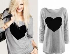 Women's Heart Pattern T-Shirt Long Sleeve Neck Tops T-Shirt Cndirect online fashion store China