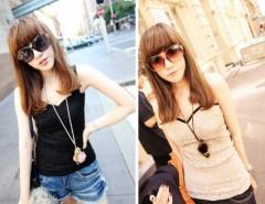 Women's Lace Condole Belt Tank Top Rose Sleeveless Casual Wear Cndirect online fashion store China