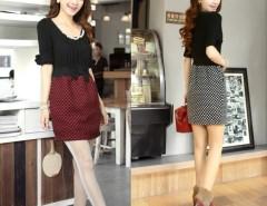 Women's Ladies Elegant Bead Round Collar Bowknot Half Sleeve Waisted Dress Cndirect online fashion store China