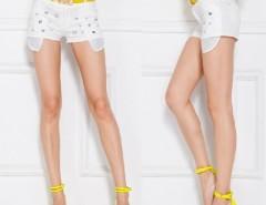 Women's Ladies Europe Style Slim Fit Embedded Rhinestone White Shorts Hot Pants With Belt Cndirect online fashion store China