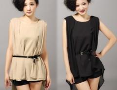 Women's Ladies Stylish Irregular Sleeveless Chiffon T-Shirt Tank Tops With Belt Cndirect online fashion store China