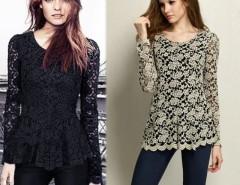 Women's Long Sleeve Hollow Floral Design Lace Sheer T-shirt Peplum Jumper Cndirect online fashion store China