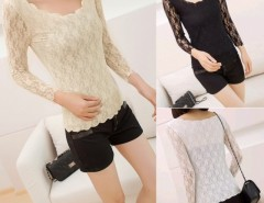 Women's Long Sleeve Lace Wavy Bottoming T-Shirt Blouse Tops Cndirect online fashion store China