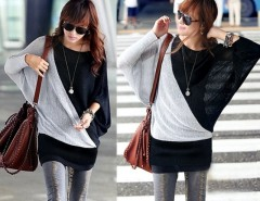 Women's Loose Batwing Long T-Shirt Tops Ladies Casual Hip-length Blouse Cndirect online fashion store China