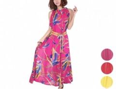 Women's Lotus Leaf neck Sleeveless Chiffon Long Dress With Belt Cndirect online fashion store China