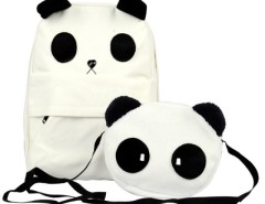 Women's Lovely White Panda Canvas Backpack With a Small Panda Shoulder Bag Cndirect online fashion store China