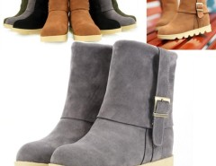 Women's Metal Buckles Shoes Flat Heel Short Boots Fur Suede Cndirect online fashion store China
