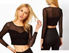 Women's Midriff-baring Gauze Splicing  Bottoming T-shirt Cndirect online fashion store China