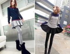 Women's New Sweet Lovely Brief Pleated Skirt and Slim Fit Leggings Fake Two Pieces Cndirect online fashion store China