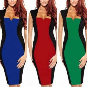 Women's Optical Illusion Color Block Cap Sleeve Bodycon Party Pencil Dress Cndirect online fashion store China