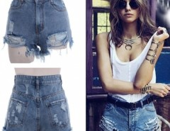 Women's Punk Rock Street Hole Water Wash Retro High Waist Shorts Jeans Cndirect online fashion store China
