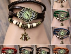 Women's Quartz Bell Pendant Weave Wrap Synthetic Leather Bracelet Wrist Watch Cndirect online fashion store China