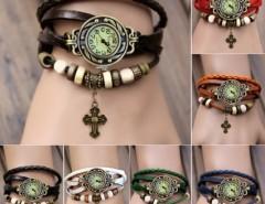 Women's Quartz Cruciate Flower Pendant Weave Wrap Bracelet Wrist Watch Cndirect online fashion store China