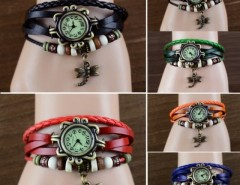 Women's Quartz Dragonfly Weave Wrap Synthetic Leather Bracelet Wrist Watch Cndirect online fashion store China