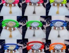 Women's Quartz Tower Pendant Weave Wrap Synthetic Leather Bracelet Wrist Watch Cndirect online fashion store China