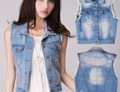 Women's Retro Washed Sleeveless Personalized Cardigan Denim Vest Waistcoat Jacket Cndirect online fashion store China