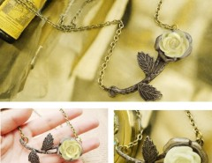 Women's Retro White Rose Bronzed Leaves Pendant Necklace Cndirect online fashion store China