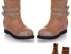 Women's Round Head Flat Heel Faux Rhinestone Platforms Boots Cndirect online fashion store China
