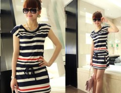 Women's Round Neck Navy Strip Slim Short Sleeve T-shirt Dress Skirt Cndirect online fashion store China