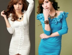 Women's Sexy Long Sleeve Ruffled Collar Lace Up Hip-length Cocktail Party Dresses Cndirect online fashion store China