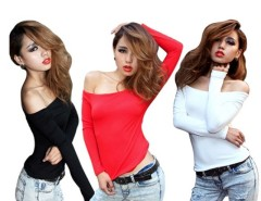 Women's Sexy Off-shoulder Tops Long Sleeve Slim Blouse T-shirt Cndirect online fashion store China
