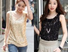 Women's Shining Bling Sequin Tank Top Sleeveless T-Shirt Cndirect online fashion store China