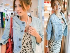 Women's Short Round Neck Jeans Tops Jacket Denim Coat Cndirect online fashion store China