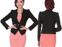 Women's Slim Business One-button Puff Sleeve Suit Blazer Coat Jacket Cndirect online fashion store China