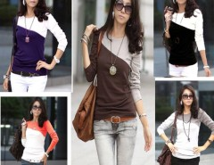 Women's SpliceCasual Long Sleeve Round Neck T-Shirt 5 Colors Cndirect online fashion store China
