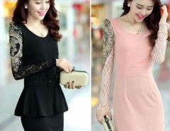 Women's Spring Summer 2 Pieces Dress With Belt Waist Skirt Lace Sleeve Cndirect online fashion store China