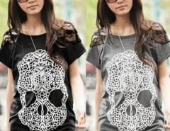 Women's Top Lace Patchwork Shoulders Skull Prints Front T-Shirt Cndirect online fashion store China