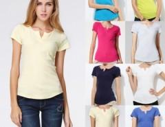 Women's V-neck Short Sleeve T-Shirt Tops Blouse FINEJO Cndirect online fashion store China