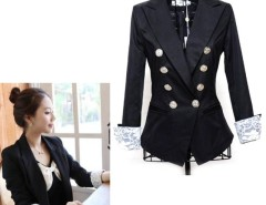 Womens Double-breasted Lace Blazer Casual Suits Jacket Cndirect online fashion store China