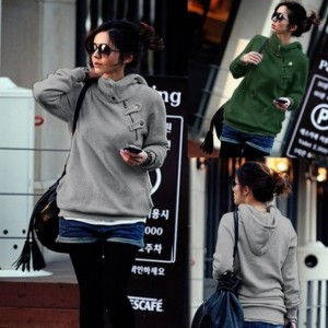 Womens Pullover Jumper Hoodie Hooded Slim Fit Zip Button Sweatshirt Jacket Cndirect online fashion store China