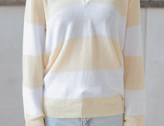 Yellow And White Color Block V Neck Long Sleeve Jumper Choies.com online fashion store United Kingdom Europe