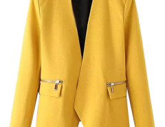Yellow Collarless Open Front Asymmetric Zipper Detail Slim Blazer Choies.com online fashion store United Kingdom Europe