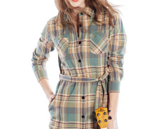 Yellow Contrast Plaid Print Belt Waist Longline Shirt Choies.com online fashion store United Kingdom Europe