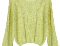 Yellow Green Ribbed Long Sleeve Jumper Choies.com online fashion store United Kingdom Europe