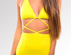 Yellow Halter Strappy Cut Out One-piece Swimsuit Choies.com online fashion store United Kingdom Europe