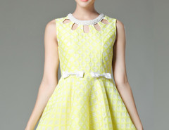 Yellow Jacquard Bead Cut Out Front Bow Embellished A-line Dress Choies.com online fashion store United Kingdom Europe