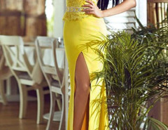 Yellow Lace Top Cap Sleeve Sheer Back Thigh Split Maxi Dress Choies.com online fashion store United Kingdom Europe