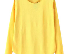 Yellow Lightweight Long Sleeve Structured Knit Sweater Choies.com online fashion store United Kingdom Europe