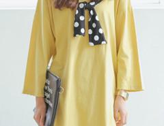 Yellow Long Sleeve Side Split T-shirt Dress Choies.com online fashion store United Kingdom Europe