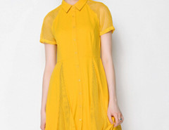 Yellow Mesh Insert Short Sleeve Midi Shirt Dress Choies.com online fashion store United Kingdom Europe