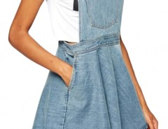 Azure Blue Denim Suspender Dress OASAP online fashion store China