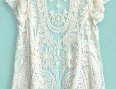 Beige Short Sleeve Crochet Net Lace Cardigan OASAP online fashion store China